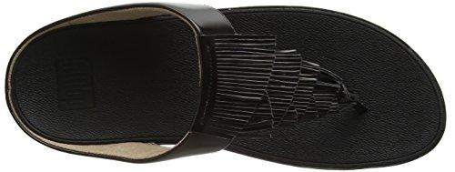 Fitflop Cha Fringe Toe-Thong Sandals, Sandali Punta Aperta Donna Black (Black)