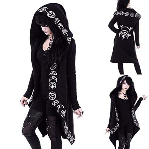 Gothic Punk Jacket Letter Printing Women Black Hooded Plus Size Winter 2019 Coat Female Long Womens Jackets And Coats Clothing L