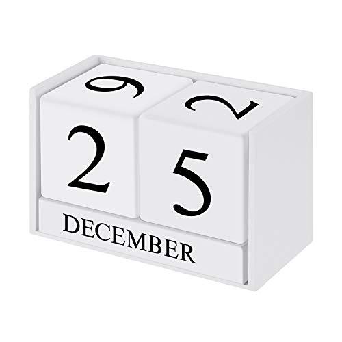 ONEVER Kalender Block, Holz Perpetual Schreibtisch Kalender Desktop Holzblock Ewiger Kalender Home Office Dekoration, weiße Farbe