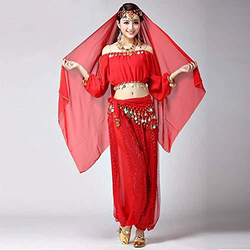 (XGWD Faschingskostüme Damen Sexy Lila Orientalische Bauchtanz Fasching-Kostüme Chiffon 7 Stück,B,M)