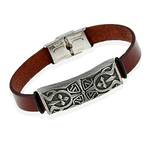 Fashion Multi Layers Faux Leather Wrap Bangle Bracelet,Brown-L