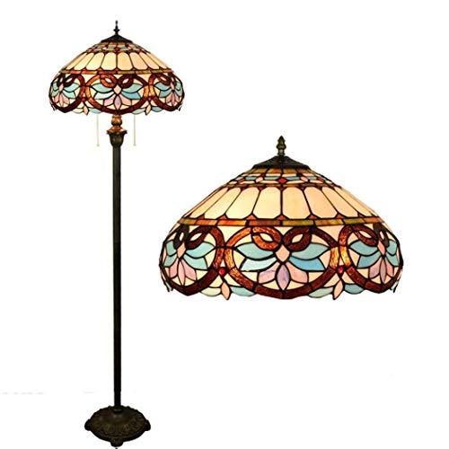 GJX Tiffany Style Floor Lights, 16-Zoll-Stehleuchte mit Bronze-Harz-Sockel, europäisches...
