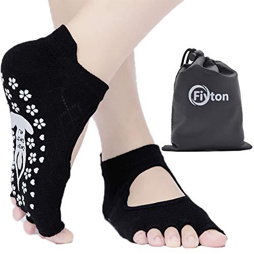Fiyton Premium Yoga-Socken für Damen, Pilates, Ballettstange, Baumwolle, rutschfest, mit Tragetasche, Damen, Black#3, Einheitsgröße