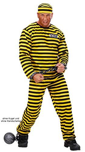Karneval-Klamotten Sträfling Kostüm Herren gelb schwarz mit Mütze Sträflingskostüm Herren-Kostüm 52
