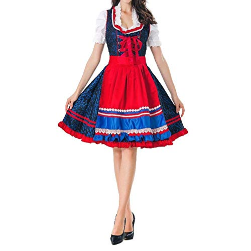 NGHJF Frauen Oktoberfest kostüm bayerischen Halloween kostüm weibliche Kleidung mädchen kostüm Bluse schürze Cosplay kostüm@7193_M (Bayerische Kostüm Weiblich)