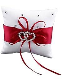 Westeng Cojín para anillos de boda almohada portador double-heart con lazo y anillos anillos de boda decoración 10 x 10 cm, raso, Rojo, mediano