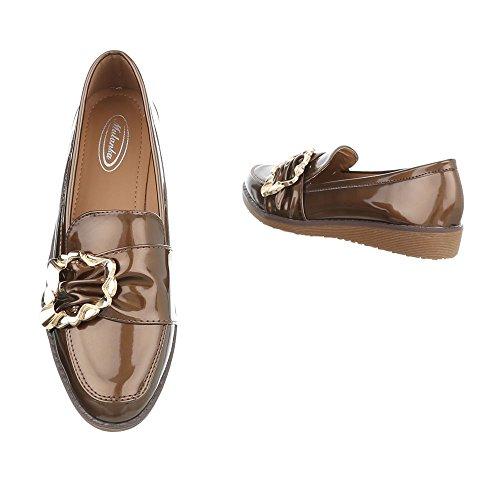 Ital-Design Chaussures Femme Mocassins Plat Slippers marron W-3-1