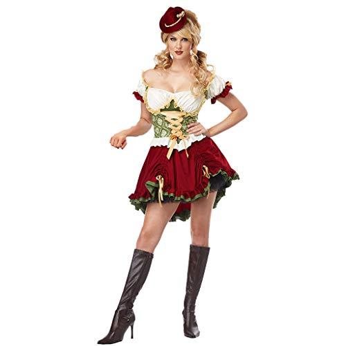 Musik Themen Party Kostüm - ToDIDAF Vintage Kleid für Damen Frau Mädchen Oktoberfest Thema Dienstmädchen Kleid Kurzarm Kellnerin Cosplay Kostüme für Halloween Oktoberfest Rot M