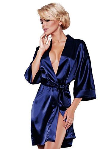 DKaren Robe de chambre style kimono sexy en satin Couleur et taille au choix Bleu foncé