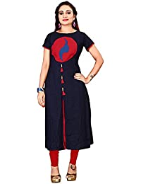 Om Sai Latest Creation Women's Stitched Printed A-Line Cotton Kurti