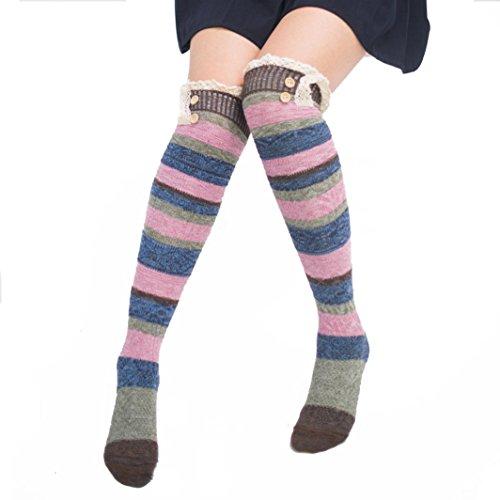 Strumpf Schenkel-hoher Kaffee (Bescita Frauen Winter Warm Kabel Lange Stiefel Socken über Knie Schenkel Hohe Strümpfe + Winterhandschuhe Soft Warm Handschuh (Strümpfe, Kaffee))
