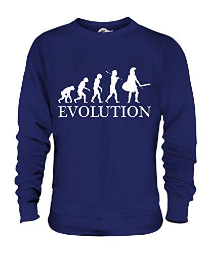 taner Evolution Des Menschen Unisex Herren Damen Sweatshirt, Größe X-Large, Farbe Navy Blau (Blauer Spartaner Kostüm)