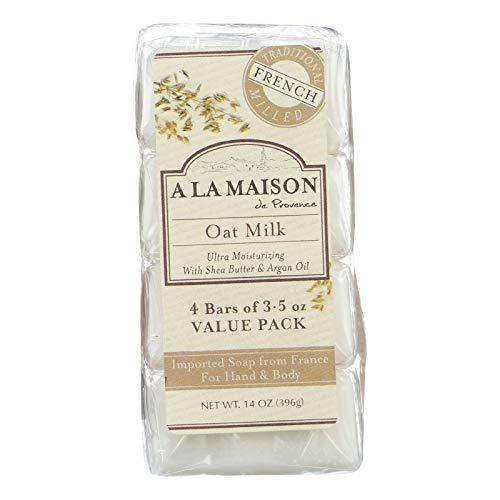 A La Maison Pains de savon ultra-hydratant Oat Milk - Au lait d'avoine, à l'huile d'argan et au beurre de karité - Super Value Pack (Paquet de 4 savons)
