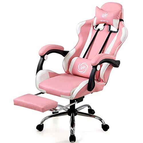 Schreibtischstühle Bürostuhl Home Computer Stuhl Rosa Prinzessin Stuhl Mädchen Live Sitz Studentenwohnheim Stuhl Esports Spiel Stuhl Rotierenden Lift Armlehne (Color : Pink, Size : 133 * 70 * 48cm)