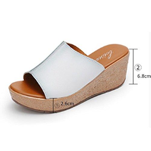 Confortable Chaussures de mode d'été Pente extérieure avec des pantoufles De cuir authentique pèse des sandales épais (2 couleurs en option) (taille optionnelle) Augmenté ( Couleur : A , taille : 40 ) A