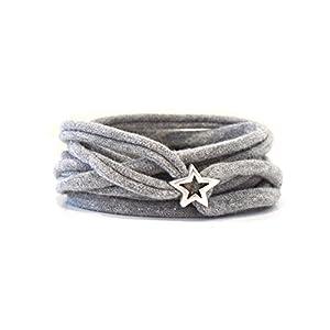 Armband Wickelarmband Stoff grau meliert oder Wunschfarbe 60 Varianten mit versilbertem Stern aus Metall individuelle…