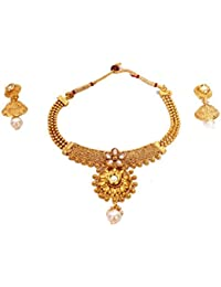 ZARIN Artificial Jewellery Red Beads Golden Pendant Necklace & Red Beads Earrings Set For Women
