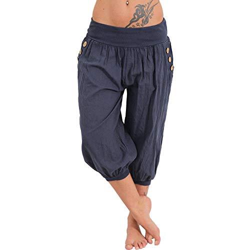 Yogahosen Kurze Damen Shorts Frauen Elastische Taille Boho Breites Bein Sommer Yoga Lockere Hose Hohe Taille Capris -