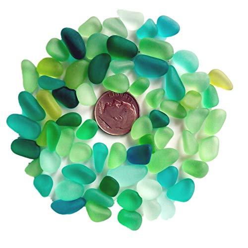 Perline di mare in vetro/perline di spiaggia in vetro per realizzare gioielli (taglia piccola/8-12mm, multicolore, mix color foglia di tè, blu, lime, non forate), blue, 100 pieces