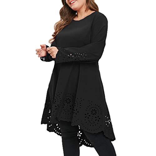 Covermason Damen Kleider Elegant Große Größe Mode O-Neck Lange Ärmel Laserschnitt Aushöhlen Kleid Cocktail Party Kleider Abendkleid
