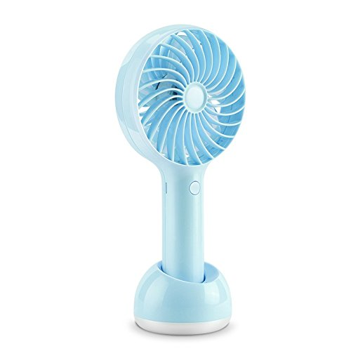 OME&QIUMEI Usb Fan Handheld Rechargeable Portable Small Fan Desktop With Mute Big Wind Blue
