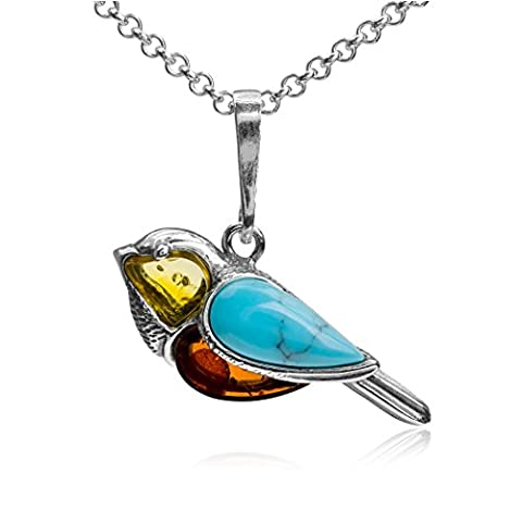 Multicolor Amber Turquoise Imitation Sterling Silver Bird Pendant Necklace Chain 46 cm