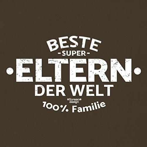 Vatertagsgeschenk Geschenkidee Eltern Papa Mama - für Sie Ihn und Männer :-: Beste Eltern der Welt :-: Herren Rundhals Kurzarm T-Shirt :-: Farbe: braun Braun