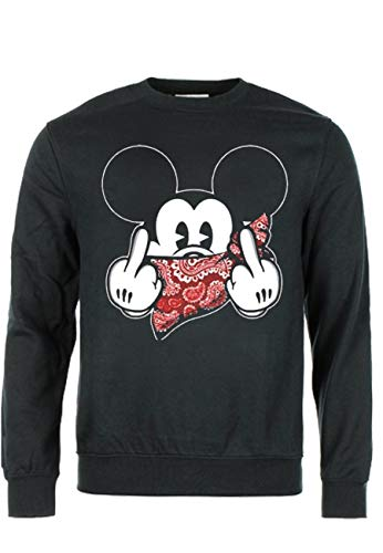 d5d54690262 Magic Custom Mickey Swag - Sweat col rond mickey fuck bandana - Noir - XL