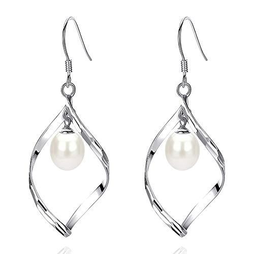 (Damen-Ohrhänger Sterling-Silber 925 Süßwasser-Zuchtperle Tropfenform)