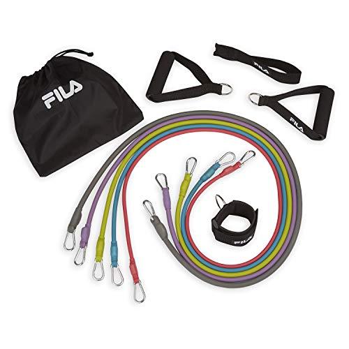 Thera-band Übung Kit (FILA Accessories Widerstandsband-Set mit 5 abnehmbaren extra starken Röhren, Knöchelriemen)