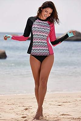 Boldgal Women's Beach Swimwear High-Low Rashguard Beach Top (Pink)