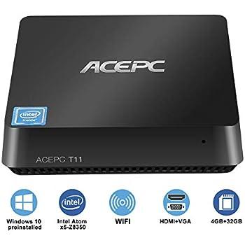 Mini PC Windows 10 Pro Procesador Intel Atom x5-Z8350 4GB Ram 32GB EMMC Soporte SATA SSD de 2,5 Pulgadas/HDMI y VGA Salida Doble/Dual Wi-Fi/Bluetooth 4.2 ...