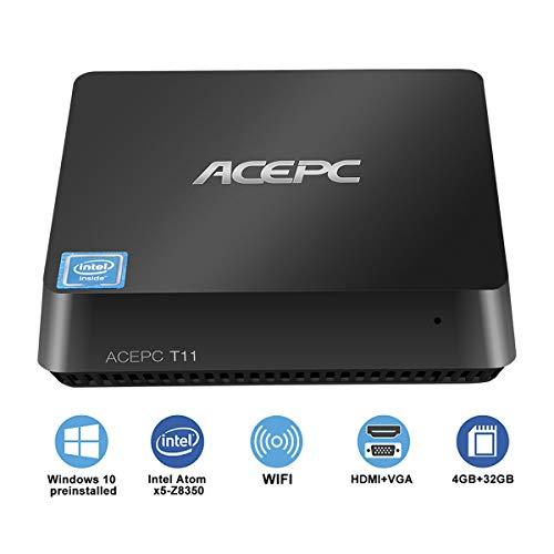 ACEPC T11 Mini PC Windows 10 Pro Desktop Atom x5-Z8350 Prozessor Intel HD Graphik 400 4GB DDR3+ 32GB ROM+DIY SSD 4K UHD VGA und HDMI Dual WIFI BT4.0 USB3.0