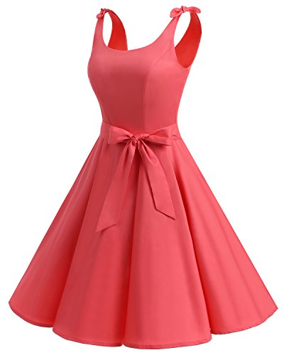 Bbonlinedress 1950er Vintage Polka Dots Pinup Retro Rockabilly Kleid Cocktailkleider Coral