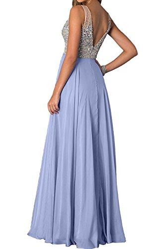 La_Marie Braut Dunkel Fuchsia Damen Festlich Abendkleider Ballkleider Partykleider mit Silber steine V-ausschnitt Hell Rosa