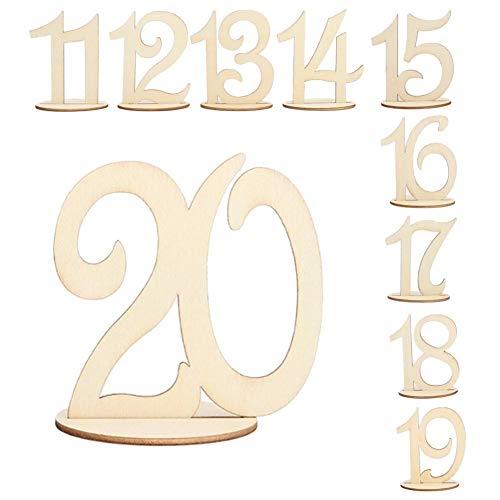 Junerain 10pcs Holz Hochzeit Tischnummer Karten Ornament Craft (elf bis zwanzig)