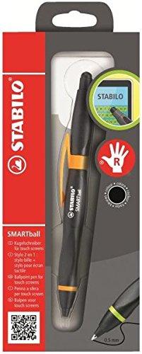 Stabilo SMARTball 2.0 Kugelschreiber für Rechtshänder, Tinte Schwarz, Stift Schwarz / Orange (Stift Orange Tinte)