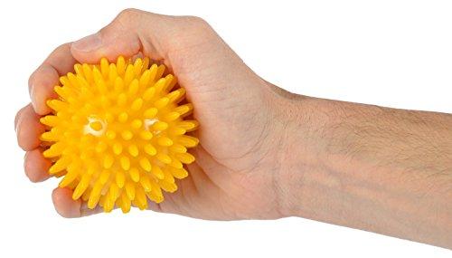 Pallina riccio massaggio 8 cm gialla corpo mano piede yoga fitness massage ball msd mambo max