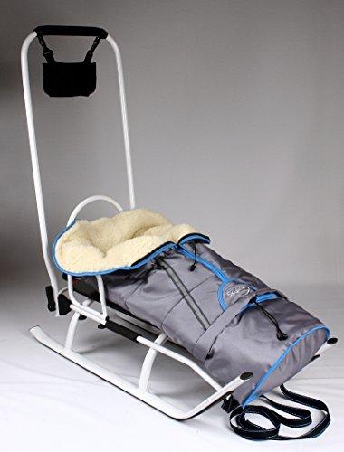 3in1 Kinder Schlitten mit Rückenlehne, Fusssack, Schiebegriff und Gurt aus Aluminium (White/Grey)