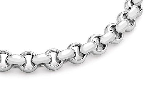 """Carissima - 250 Grand anneau à ressort avec Chaîne Bracelet de 20 cm/8 """" Or blanc"""
