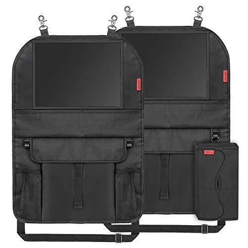 Auto Rückenlehnenschutz (2 Stück) Kinder Auto Organizer Wasserdicht Autositzschoner mit Große Taschen und iPad-/Tablet-Fach Kick-Matten-Schutz für Autositz -