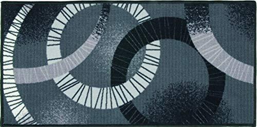 Trend tappeto bagno cucina passatoia multiuso cerchi mod.fakiro25 tessitura piatta made in italy (grigio, 57x190 cm)