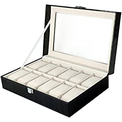 Semlos Alligator Grain Faux Leather Watch Box Case with 12 Wristwatch Showcases Display for Watches and jewelleries