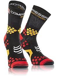 Compressport Trail 2.1 - Calcetín unisex, color negro / rojo, talla 3