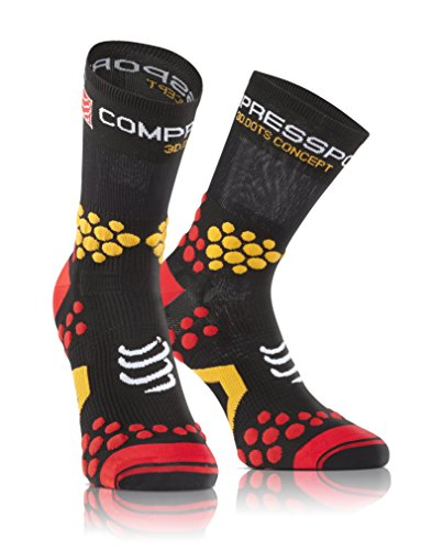 Compressport Racing Socks V2.1 Trail Hi Calzino Trail da Gara e Allenamento, Nero (Black/Red), T3