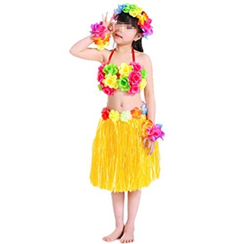 Hawaiano-Vestido-Falda-Hierba-para-Ninas-Guirnaldas-de-flores-5pcs-Accesorios-de-playa-Costume-Disfraces-Amarillo