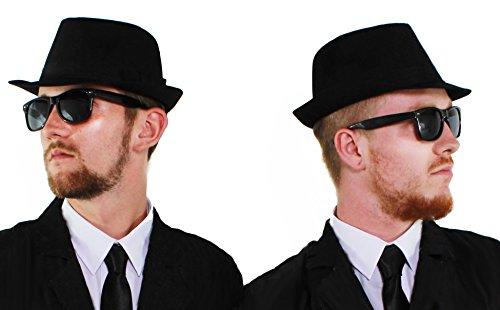 ILOVEFANCYDRESS Blues-Kostüm-Set für Kostüme, 60 cm, schwarzer Fedora-Hut + Schwarze Brille mit schwarzen Gläsern, perfekt für 2 Brüder, Blau, 2 (Soul Und Blues Kostüme)