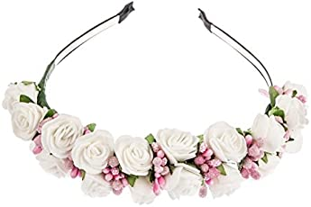Sanjog Plastic and Foam White and Pink Boho Tiara for Girls