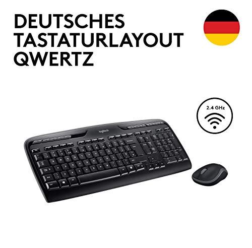 Logitech MK330 Kabellose Tastatur und Maus, USB, lange Akkulaufzeit, kompatibel mit Windows und Chrome OS - QWERTZ deutsches Tastaturlayout - Schwarz