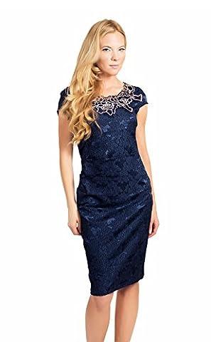 Clasichic Women Cap Sleeve Round Neck Pencil Dress for Cocktail Evening Party Body Con Sheath Dress(Purplish Blue,S)